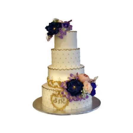 Purple Flower Marriage Cake
