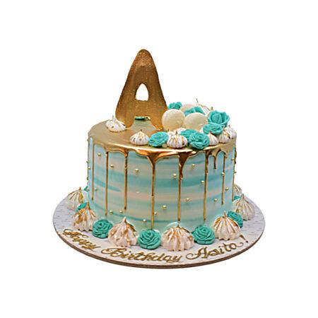 Turquoise & Gold Cake
