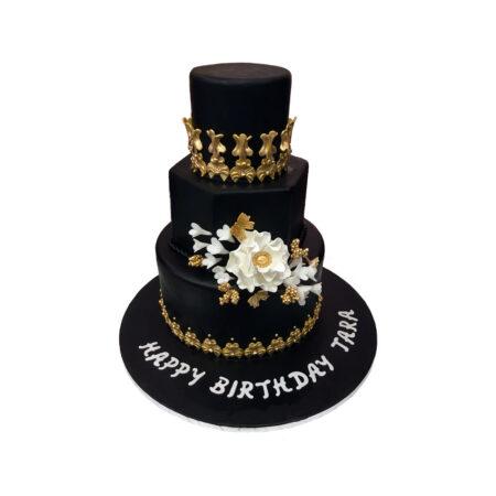 Classic Black Coated Birthday Cake