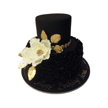 Dark Ruffles Cake