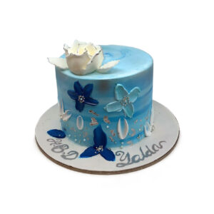 Blue Water Color Birthday Cake