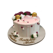 Pink Rose Floral Cake