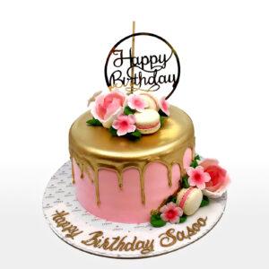 Golden Drops Birthday Cake