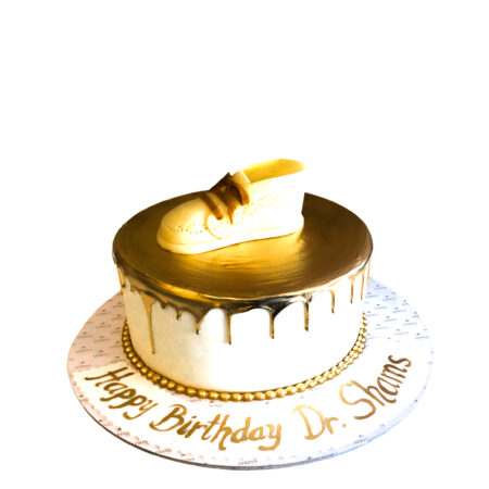 Golden Shoe Birthday Cake